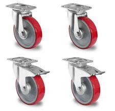 Satz Transportgeräterolle Polyurethanbereifung 160 mm Platte Lenkrolle Bremse