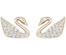 New Authentic Swarovski Swan Mini Crystal Pierced Earrings Rose Gold #5144289