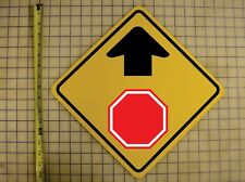 STOP AHEAD YELLOW ALUMINUM SIGN