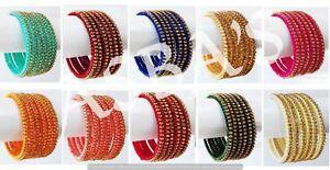 Silk Indian Thread Bangles Set Wrapped Women Jewelry Bracelets Glass Bangles