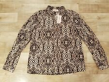 NWT Philosophy Republic Clothing Blouse Croco Skin Ethnic Print Top Long Sleeve