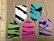 100 Zebra Print Paper Price Pre-Strung Tags 5 Colors