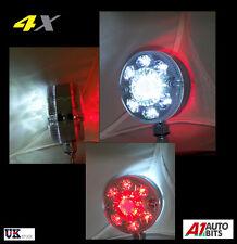4x  UNIVERSAL 24V SMD 24 LED CHROME RED WHITE SIDE MARKER LIGHTS TRUCK TRAILER
