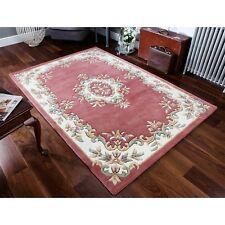 Royal Aubusson Rose Pink Wool Rug in various sizes half moon and circle