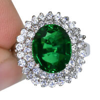 GREEN TSAVORITE GARNET OVAL RING SILVER 925 UNHEATED 3.70 CT 11X8.8 MM. SIZE 6.5