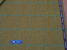 100% WOOL TWEED FABRIC, MIX LIME / NUT BROWN WINDOWPANE/HB - MADE IN BRITAIN