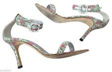 MANOLO BLAHNIK Sandal Leather Open Toe BROCADE METALLIC CRYSTAL 9.5