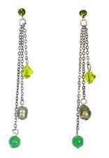 Elegantes señoras Gun Metal Gris / Verde Piedra color de contraste pendientes (Zx10)