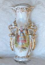 Antico vaso porcellana Francia c1850 Pittura a mano con ragazza in giardino