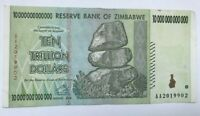 USED ZIMBABWE 10 TRILLION DOLLARS NOTE. CIRCULATED.