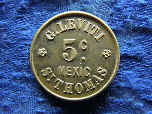 DANISH WEST INDIES TOKEN 5 CENTS, SIEG 31 XF/AU, G. LEVITI, MEXIC, ST THOMAS