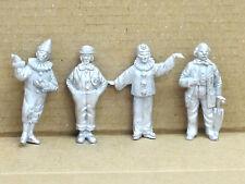 Set mit 4 verschiedenen Zirkus-Clowns, Zinn, Set 4, unbemalt, Omen, 1:43