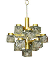 Mid Century Modern Italian Sciolari 13 Cube Glass Brass Lightolier Chandelier