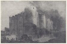 C3012 France - La demolizione della Bastiglia - Stampa d'epoca - 1953 old print