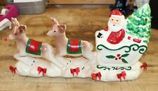 Vintage Christmas Santa Reindeer Ceramic Lamp Light Decoration