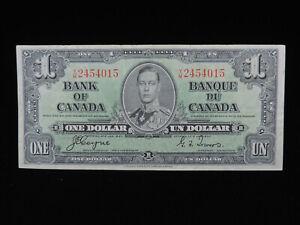 1937 $1 Dollar Bank of Canada Banknote Y/M 2454015 Coyne Towers VF Grade Bill