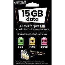 Tarjeta SIM prepago giffgaff con £5 de saldo gratis una vez activada la tarjeta.