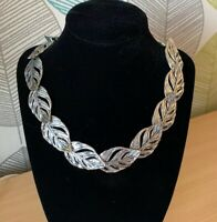 Silver Tone Leaf Necklace costume Jewellery Collar Metal Statement Power Leaves