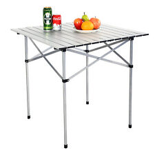 "28""x28"" Roll Up Portable Folding Camping Square Aluminum Picnic Table w/Bag New"