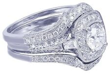14k White Gold Round Cut Diamond Engagement Ring And Bands Halo Filigree 2.50ctw