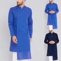 Indian Men Casual Solid Shirt Kurta Kaftan Collarless Plain Tunic Robe Top S-5XL