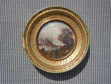 Peinture miniature sur cuivre paysage bord de lac signée Mauget