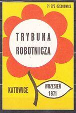 "POLAND 1971 Matchbox Label - Cat.G#235 Feast ""Trybuna Robotnicza"" Katowice 1971"