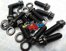 Cool looking 12 point Black Oxide intake manifold bolts and washers Small Block