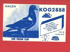 CLIFTON HEIGHTS PA CB RADIO KOG 2888 PIGEON CLUB ROSCISZEWSKI  QSL POSTCARD