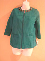 JM Collection New Womens Murky Teal Studded 3/4 Sleeve Zip Jacket Petite