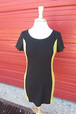 F 21 Black Lime Green Color Block Retro Mod Style Dress Sz Med Trapeze