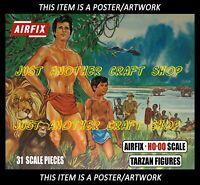 Airfix HO-OO Tarzan Large Size Poster Advert from Blue Box 1968 Artwork