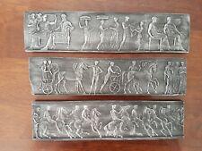 3 Miniature freieze Antique Italian Roman plaster Pictorial Sculpture Plaque