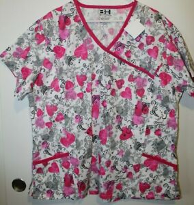 Beverly Hills Uniforms Women's White Pink Hearts Graphic Scrub Top Size 3XL