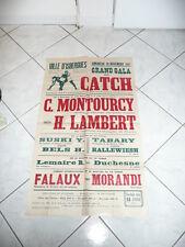 AFFICHE ANCIENNE CATCH 1956 ISBERGUES 62 PAS DE CALAIS