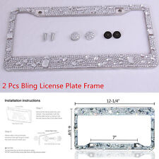 2 x Pure Handmade Bling Glitter Rhinestones Diamond Crystal License Plate Frame