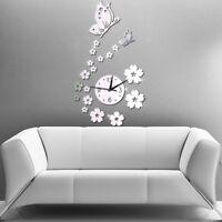 Modern Large DIY Wall Clock 3D Mirror Surface Sticker Home Decor Art Design Tool