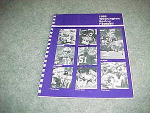 1985 Washington Huskies Spring Football Media Guide Hugh Millen cover