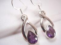 Faceted Amethyst Infinity 925 Sterling Silver Dangle Earrings Corona Sun Jewelry