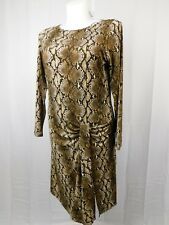 Michael Kors Plus Size Snakeskin Print A-Line Dress 1X Dark Camel #2930