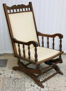 Antiker Viktorianischer Schaukelstuhl Stuhl Sessel Nussbaum um1880 /*583