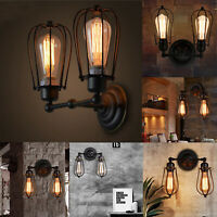 Vintage Industrial Lights Lamps Covers Wall Mounted Rustic Fixture Black Cage