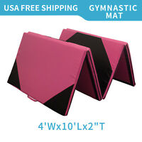 "4'x10'x2"" Gymnastics Mat Thick Folding Panel Gym Fitness Exercise Pink/Black"