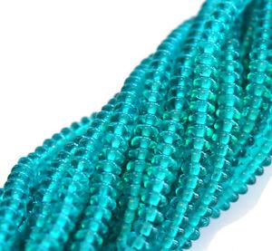 100 Teal Czech Glass Rondelle Beads 4MM