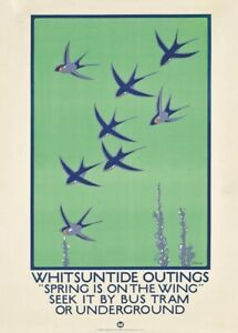Whitsuntide Outings, 1921, Art Deco Travel London Underground Poster