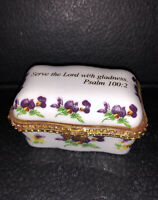 Imperial Porcelain Pill/Trinket Box Religious Psalm 100:2 Bible Verse Pansies Pa