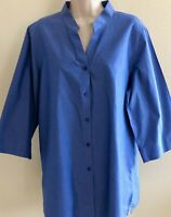 Orvis womans 18 XL blue chambray LS shirt popover band round  collar collarless