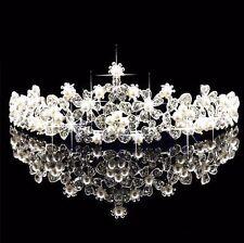 Bridal Flower Rhinestone Crystal Pearl Crown Tiara Veil Prom Wedding Pageant