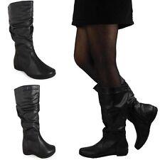 Patternless Cuban Heel Mid-Calf Boots for Women