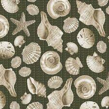 Seashell Fabric, By The Yard, Beachcomber Shells, Earth, Nautical, TheFabricEdge
